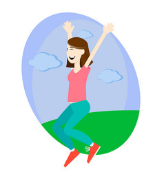 Happy girl jumping up with excitement vector