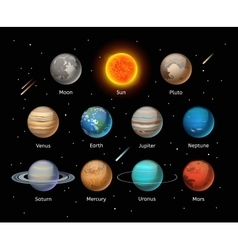 Planets colorful set on dark background vector image