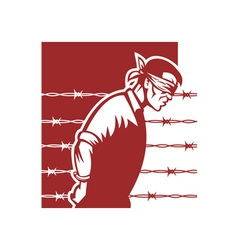 Prisoner blindfolded and hands tied vector image