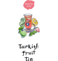 turkish fruit tea in traditional glass cup with vector image vector image