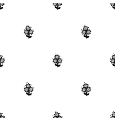 White and black flowers seamless background vector image vector image