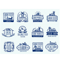 ballpoint pen doodle farm and organic food vector image vector image