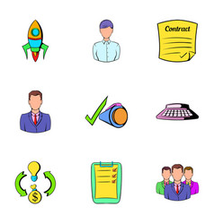 business rocket icons set cartoon style vector image