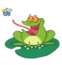 Frog And Fly Cartoon Character vector image vector image