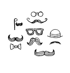 Hand Drawn Moustaches vector image