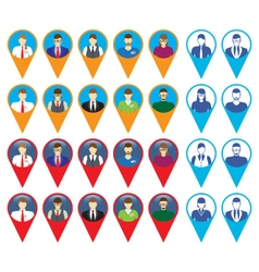 Male and female faces icons with GPS sign location vector image vector image