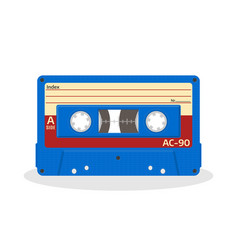 retro audio cassette in blue color isolated on a vector image vector image