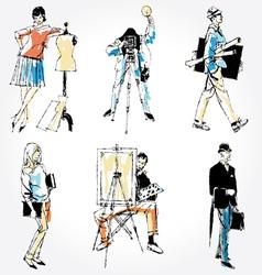 retro professions collection vector image