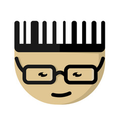 the asian cartoon character with glasses vector image