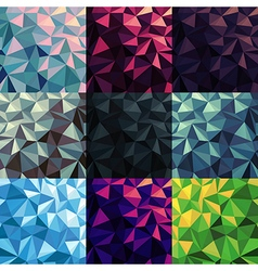 Triangular Low Poly Backgrounds set Different vector image vector image