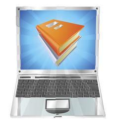 books icon laptop concept vector image