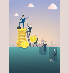 Business man standing on coin stack point finger vector
