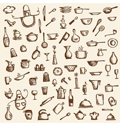 Kitchen utensils sketch drawing vector image vector image