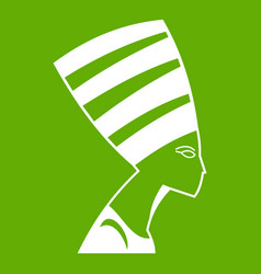 the head of the egyptian queen icon green vector image vector image
