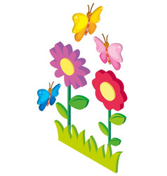 3d design for butterflies flying in garden vector