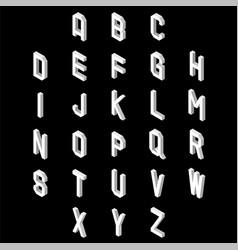3d flat style font set of alphabet letters vector image