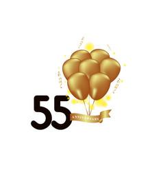 55 year anniversary black gold balloon template vector