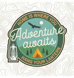 adventure awaits patch concept for badge vector image