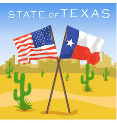 American and texas flags in desert vector