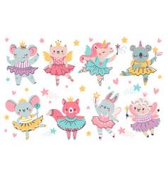 Animal fairy ballerina princess unicorn bunny vector