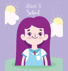 back to school student girl elementary education vector image