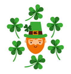 bearded leprechaun face with green clovers falling vector image