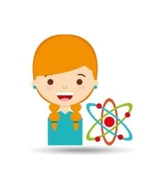 Beatiful girl blonde student chemistry vector