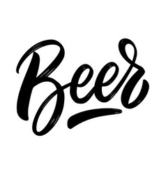 beer lettering phrase on white background design vector image