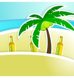 Beer with foam on bar counter Tropical resort vector image