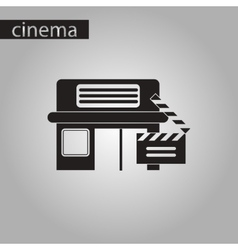 Black and white style icon building cinema vector