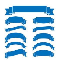 Blue ribbon banners set blank for decoration vector image