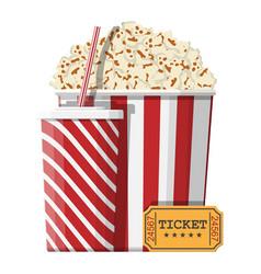 Bowl full popcorn paper glass cinema ticket vector