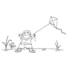 Boy and his kite black and white vector