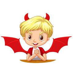 Boy with devil horns and wings vector
