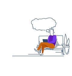 businessman using laptop idea chat bubble relaxing vector image