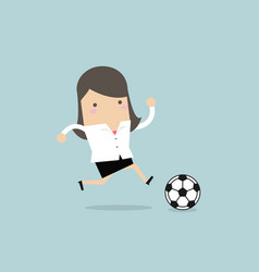 businesswoman football player running with ball vector image