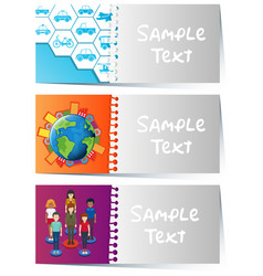 Card templates with infographic designs vector