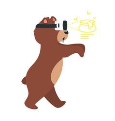 Cartoon brown grizzly bear vector