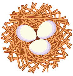 cartoon white egg nest icon poster vector image