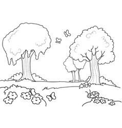 Cartoon wood for kids coloring vector