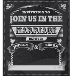 chalkboard wedding invitation vector image