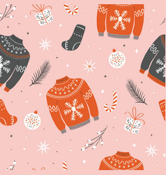 christmas seamless pattern with ugly sweater vector image