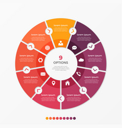 Circle chart infographic template with 9 options vector