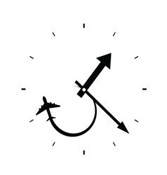clock with airplane black vector image