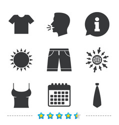 Clothes signs t-shirt and pants with shorts vector