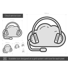 Cloud service line icon vector