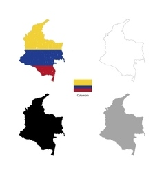 Colombia country black silhouette and with flag on vector