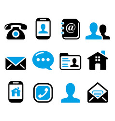 contact icons set - mobile user email vector image