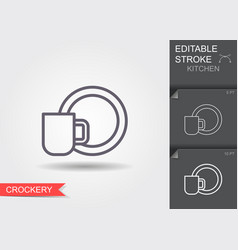 cup and a plate line icon with editable stroke vector image