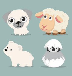 cute animals collection in flat design vector image
